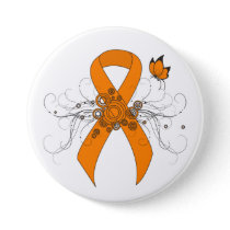 Orange Awareness Ribbon with Butterfly Button