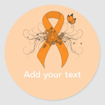 Orange Awareness Ribbon with Butterfly Classic Round Sticker