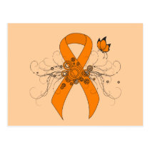 Orange Awareness Ribbon with Butterfly Postcard