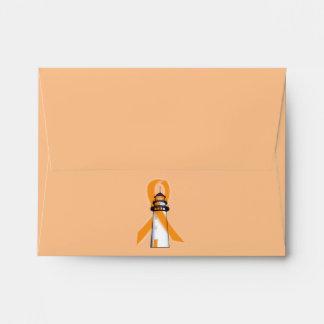 Orange Awareness Ribbon with Lighthouse of Hope Envelope