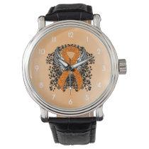 Orange Awareness Ribbon with Wings Wrist Watch