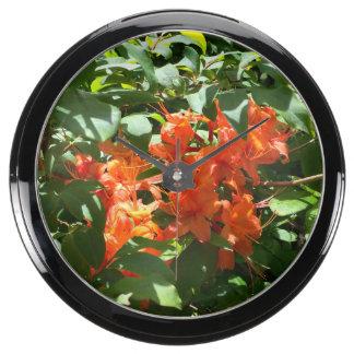 Orange Azalea Photograph Clock Aquarium Clock
