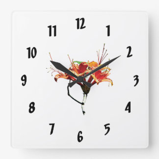 Orange Azaleas Square Wall Clock