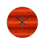 Orange Aztec Pattern Round Clock
