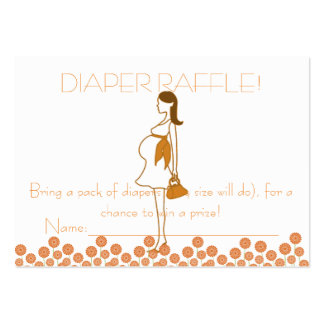 Orange Baby Shower Diaper Raffle Tickets Large Business Cards (Pack Of 100)