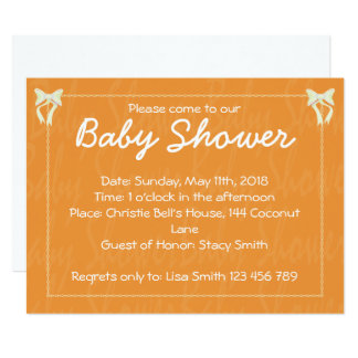 Orange Baby shower invitation