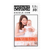 Orange  Baby's First Birthday Party Postage Stamp