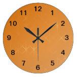 Orange Background. Abstract Misty Grid Design. Round Wall Clocks