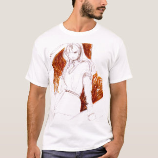 orange background fashion illustration t-shirt