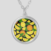 Orange Background Silver Plated Necklace