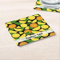 Orange Background Square Paper Coaster