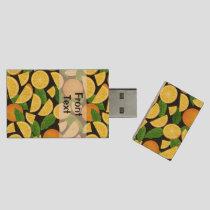 Orange Background Wood Flash Drive