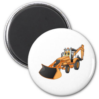 Orange Backhoe Cartoon Magnet