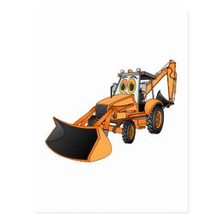 Orange Backhoe Cartoon Post Card