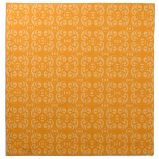 Orange band damask wedding dinner napkin