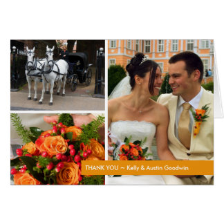 Orange band modern 3 photo montage thank you note cards