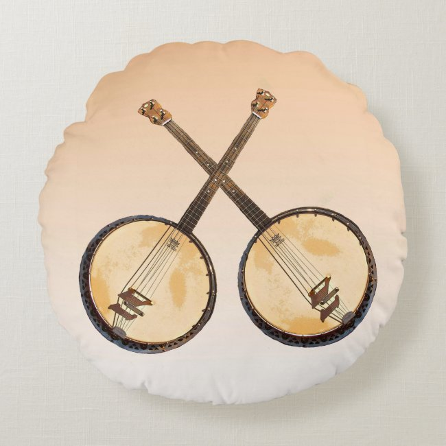 Orange Banjo Music Instruments Round Pillow