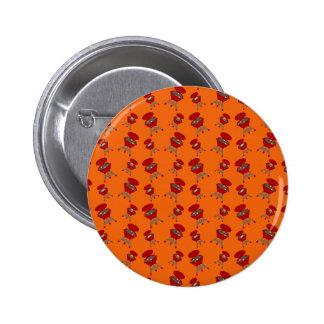 Orange barbeque pattern 2 inch round button