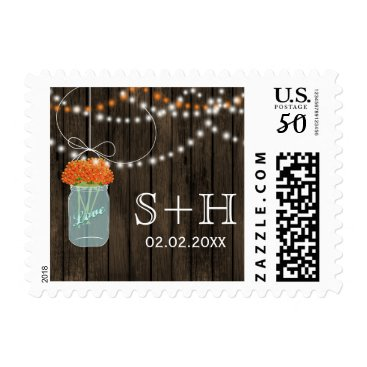 orange Barnwood mason jar personalized stamps