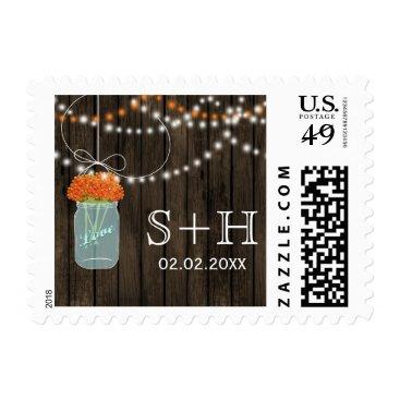 orange Barnwood mason jar personalized stamps