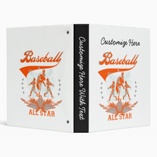 Orange Baseball All Star T-shirts and Gifts 3 Ring Binders