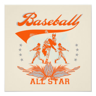 Orange Baseball All Star T-shirts and Gifts Invitation