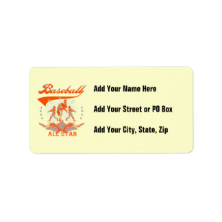 Orange Baseball All Star T-shirts and Gifts Address Label