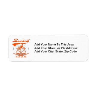 Orange Baseball All Star T-shirts and Gifts Return Address Label
