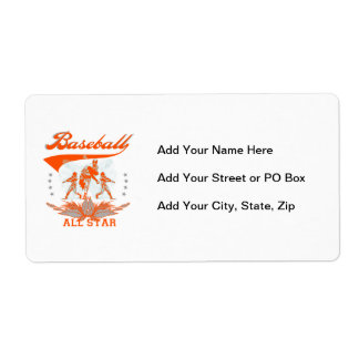 Orange Baseball All Star T-shirts and Gifts Shipping Label