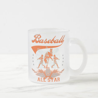 Orange Baseball All Star T-shirts and Gifts 10 Oz Frosted Glass Coffee Mug