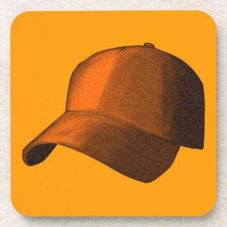 ORANGE BASEBALL HAT CAP GRAPHIC BEVERAGE COASTERS
