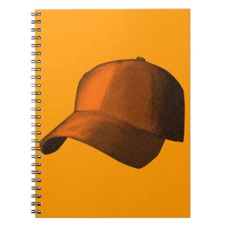 ORANGE BASEBALL HAT CAP GRAPHIC SPIRAL NOTE BOOKS