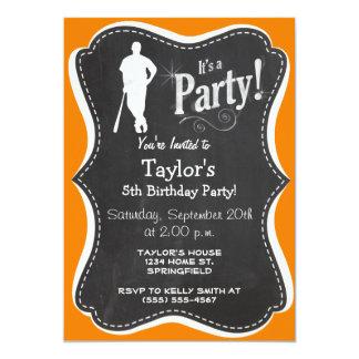 "Orange Baseball 5"" X 7"" Invitation Card"