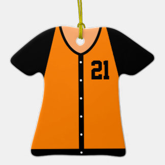Orange Baseball Jersey 21 V1 Double-Sided T-Shirt Ceramic Christmas Ornament