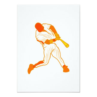Orange baseball logo 5x7 paper invitation card