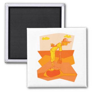 Orange baseball magnet