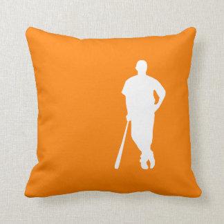 Orange Baseball Throw Pillow