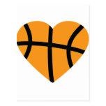 Orange Basketball Ball Heart Love Post Card