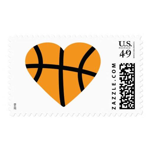 Orange Basketball Ball Heart Love Postage