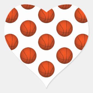 Orange Basketball Pattern Heart Sticker