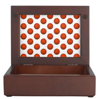 Orange Basketball Pattern Keepsake Box