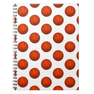 Orange Basketball Pattern Spiral Note Books
