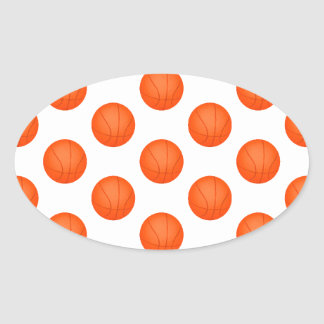 Orange Basketball Pattern Oval Sticker