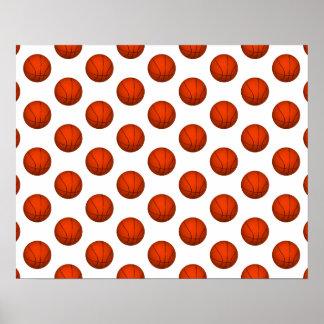 Orange Basketball Pattern Print