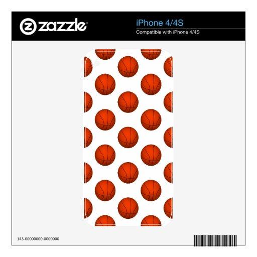 Orange Basketball Pattern Skin For iPhone 4S