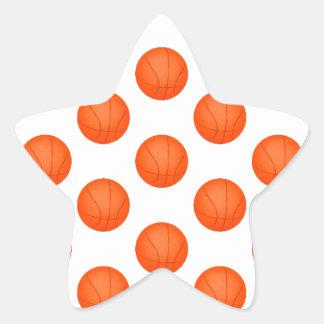 Orange Basketball Pattern Star Sticker
