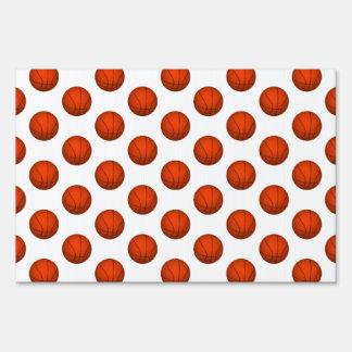Orange Basketball Pattern Lawn Sign