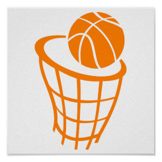 Orange Basketball Poster