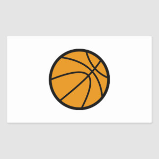 Orange Basketball Rectangle Stickers