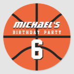 Orange Basketball Sticker Sports Birthday Party